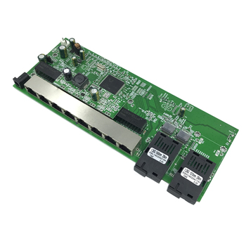 Reverzné PoE 10/100/1000M, Gigabit Ethernet switch Optických Režime Single 8 RJ45 a 2 SC fiber Motherboard1.25G 20 KM