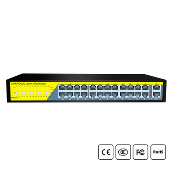 24Ports Gigabit Switch 1000Mbps POE Switch , Smart Desktop Network Power Over Ethernet InjectorExtend 250M ,2 Portu Uplink 1 SFP
